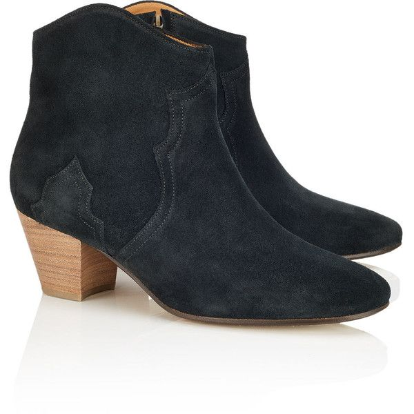 f85c427fcbc3 Isabel Marant Étoile Faded Black Suede Dicker Boots (135.445 HUF) ❤ liked  on Polyvore