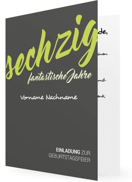 Fesselnd Geburtstagseinladung 60 Vorlagen, Graue Karte, Grüne Schrift