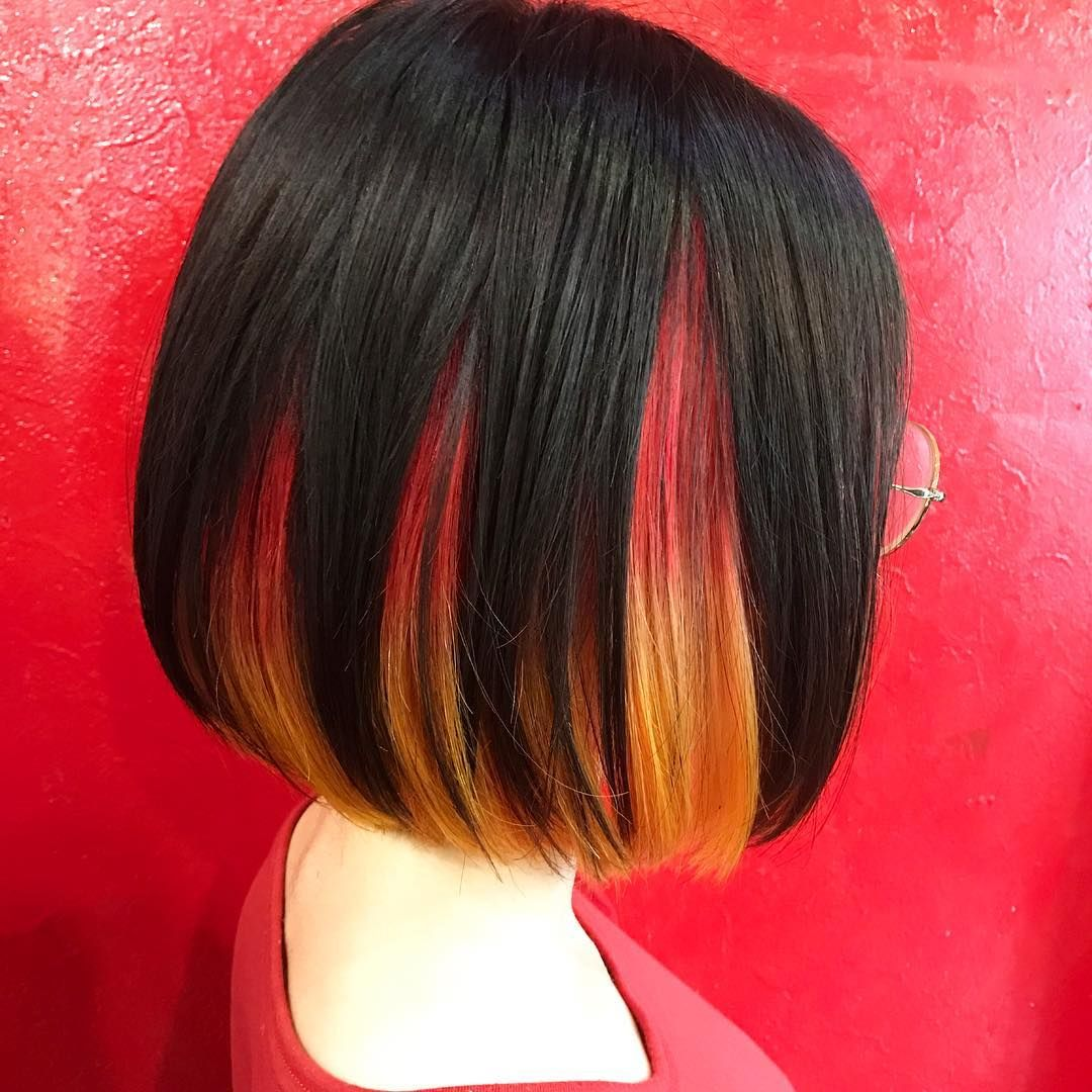 ちなつ3349さんはinstagramを利用しています インナーカラー マニパニ 赤 オレンジ 黄色 Red Orange Yellow Manicpanic デザイン 派手 派手髪 ボブ Bob ヴィヴィッド Vivid Colorf ロングヘア インナーカラー 赤 ヘアスタイル