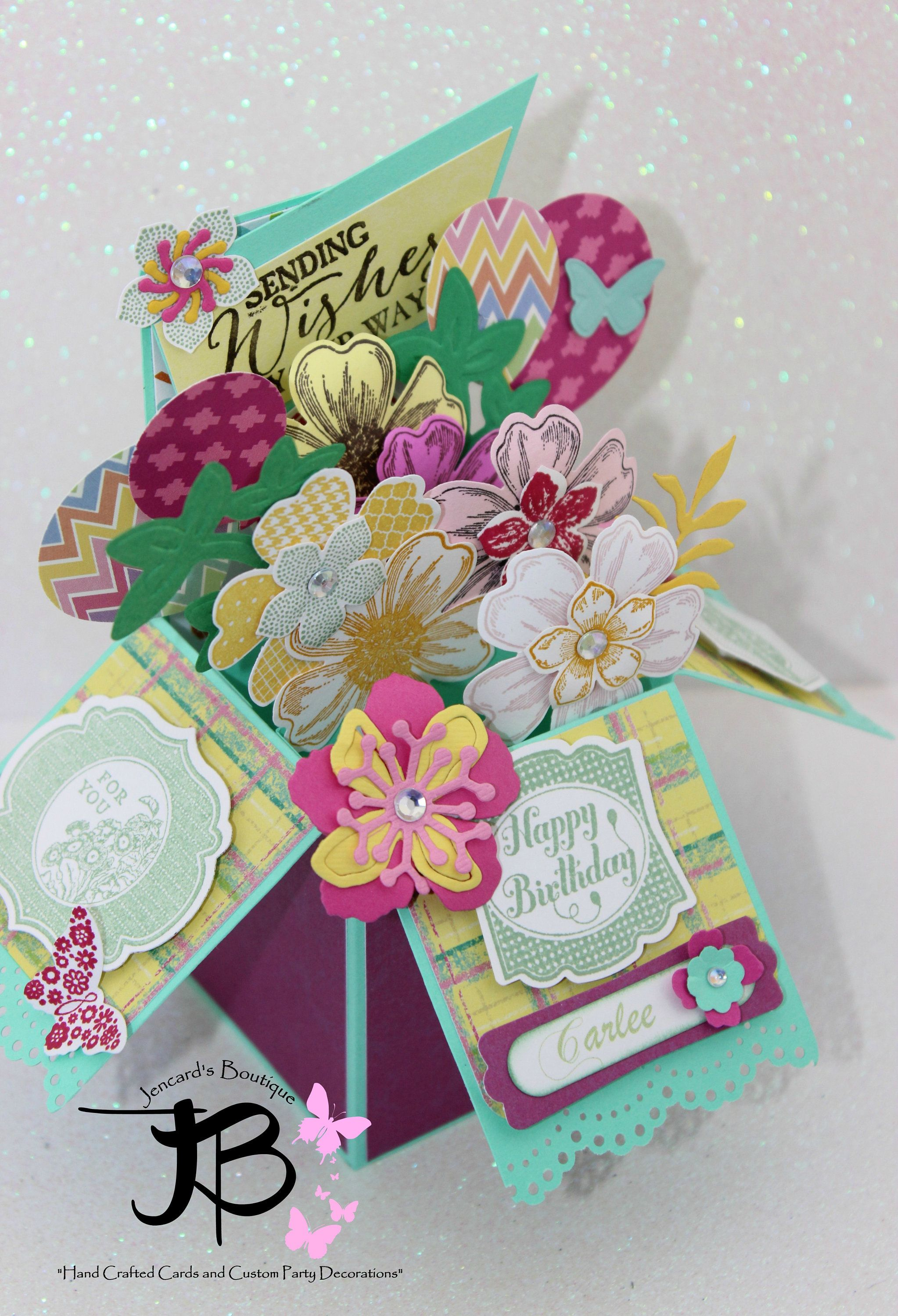 Handmade popup card in a box party favors birthday banners