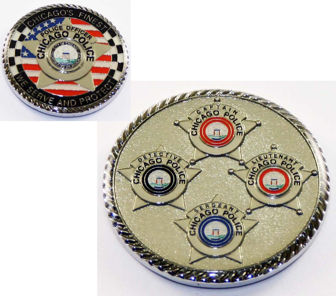 6043 Chicago Star Challenge Coin Chicago Fire Department and Chicago Police Department gifts.