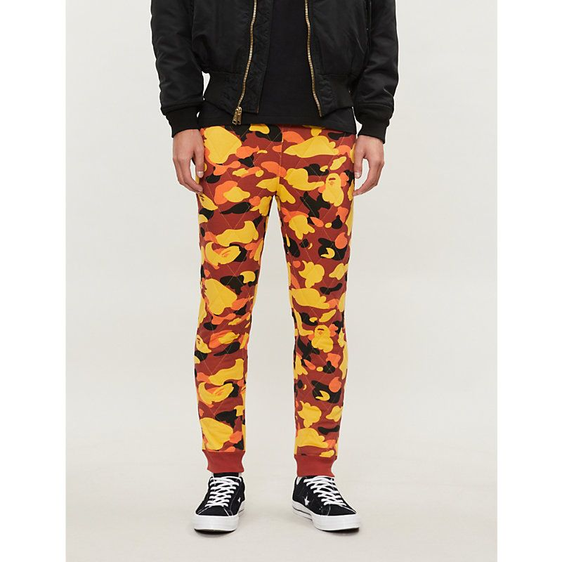 770e08b776969 A BATHING APE CAMOUFLAGE-PRINT QUILTED STRETCH-JERSEY JOGGING BOTTOMS. # abathingape #cloth