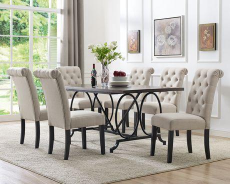 Brassex Inc Soho 7 Piece Dining Set Table 6 Chairs Beige Beige