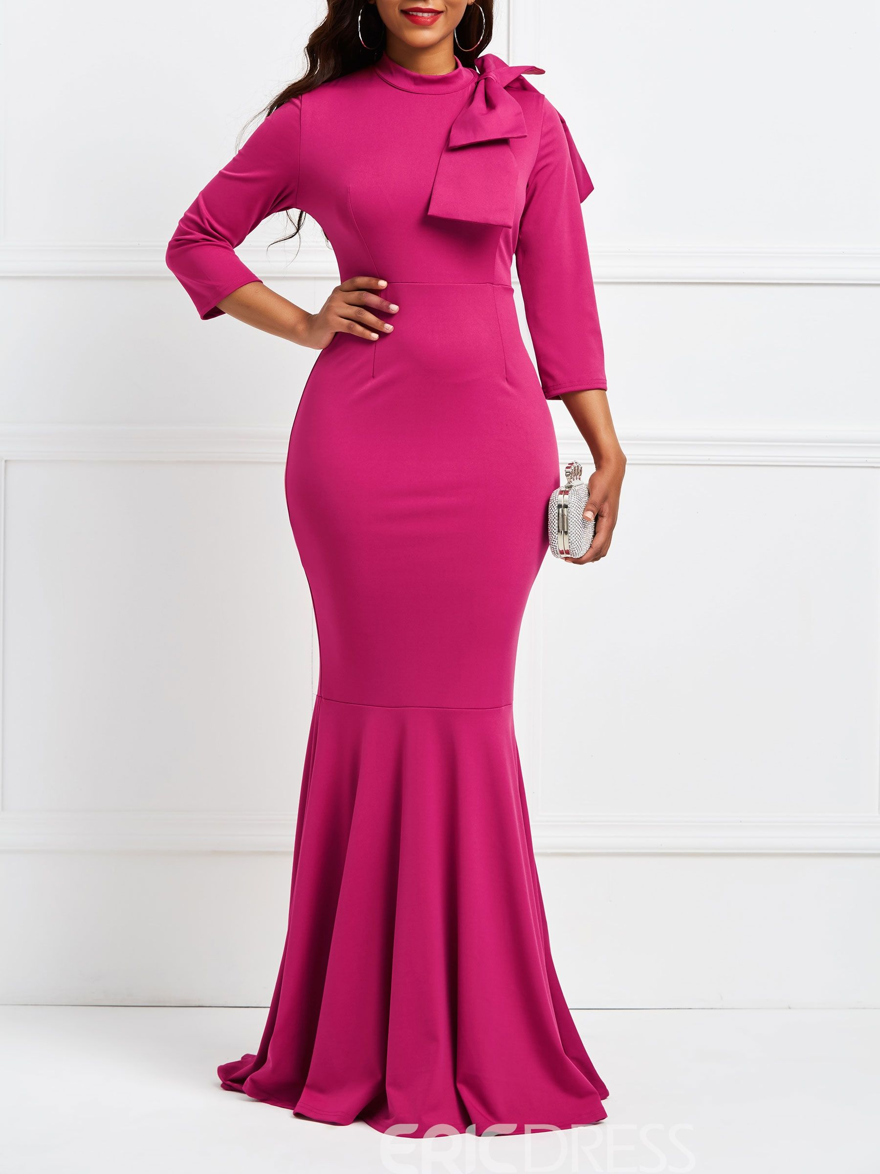 449f557016 Ericdress Purple 3/4 Sleeve Bow Bodycon Maxi Dress | All Dressed Up ...
