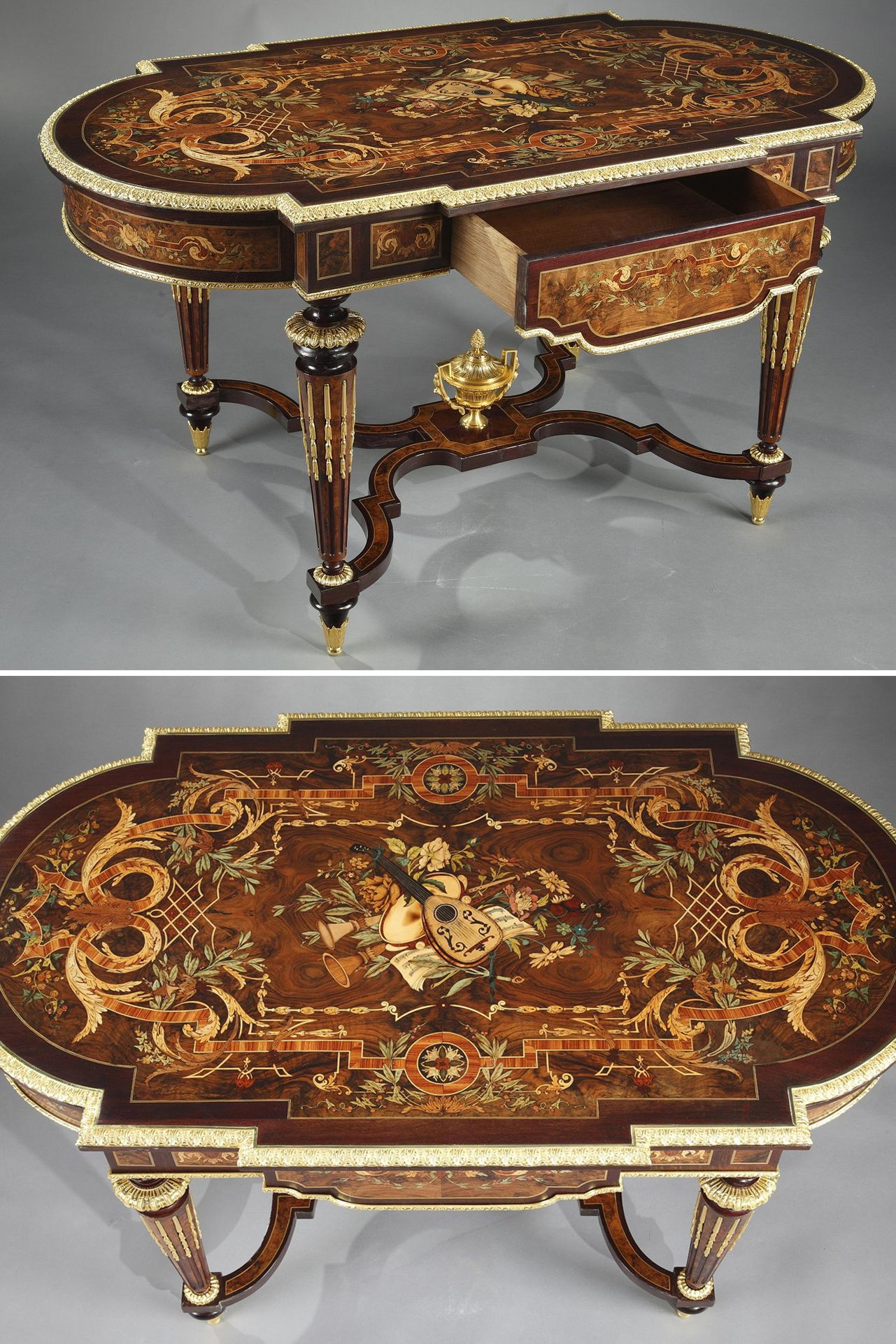 Marquetry Table In Louis Xiv Style Table De Salon Mobilier De Salon Buffet Bas