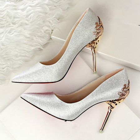 Beautiful Fashion Sexy High Heels Shoes with Metal Wedding Shoes Colors: Red, Black, Silver, Pink Sizes: 4-8 It is best to order a size larger