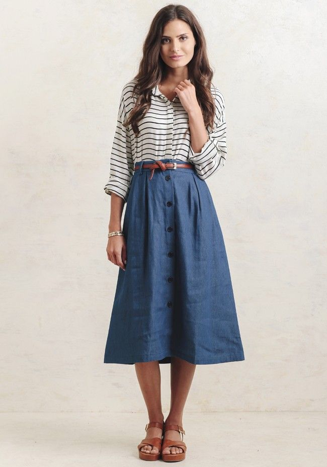 d245f4b7423fe7 Going For A Walk Chambray Midi Skirt | My Style in 2019 | Skirt ...