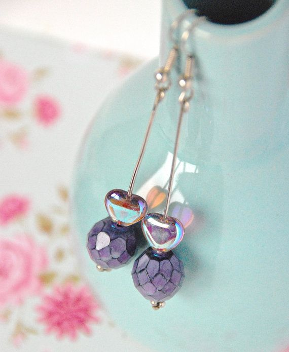 Valentine's Day Earrings Heart Earrings Purple by lovelyart, €8.00 Earrings made with: Very Rare Heart Beads and Purple Faceted Purple Beads  Delicate and Romantic perfect for Valentine's Day  Measure 5,5 cm / 2,1 inches long Handmade