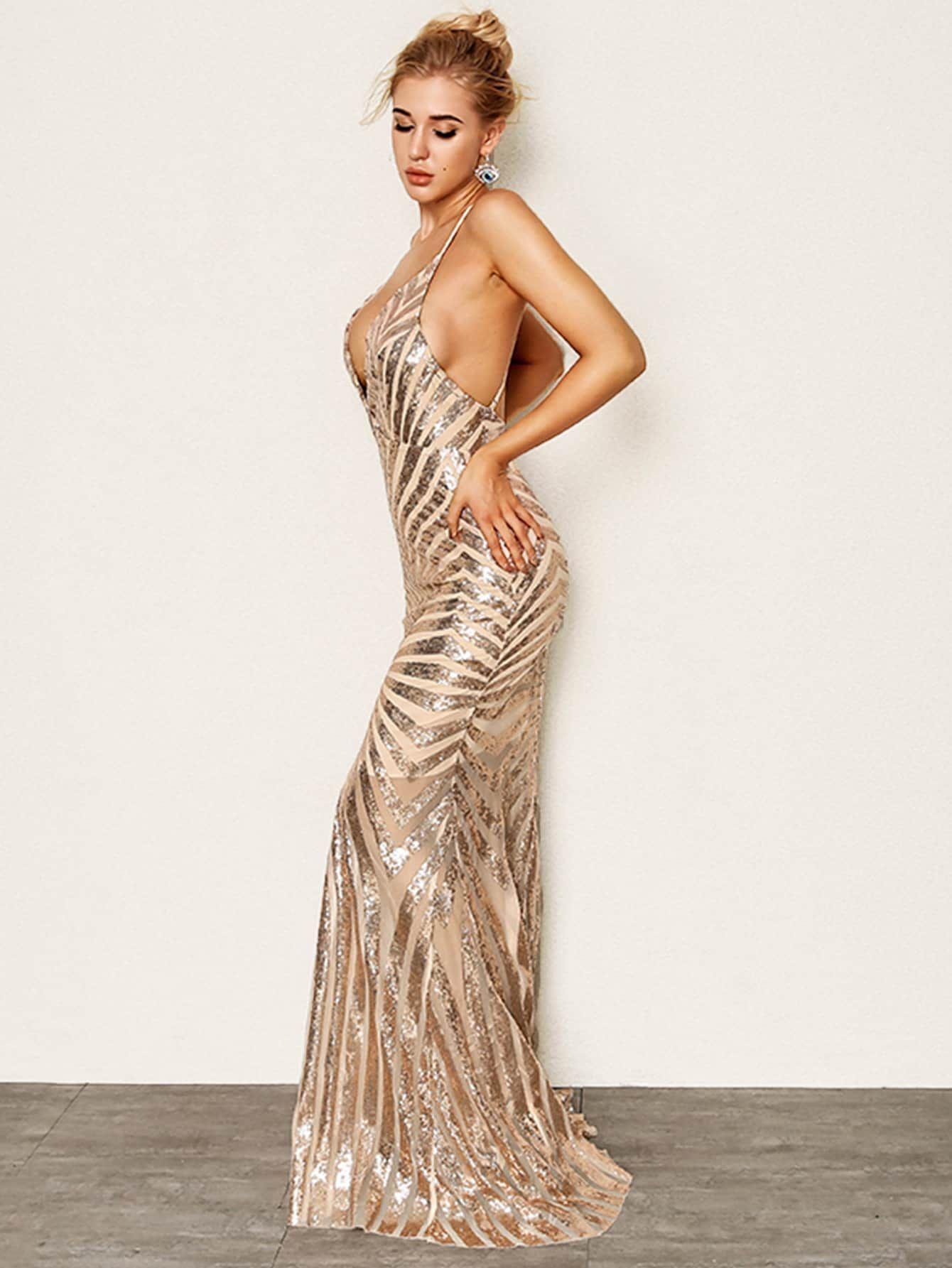 e002aaa73a0 Joyfunear Crisscross Open Back Fishtail Metallic Sequin Dress  Open#Crisscross#Joyfunear