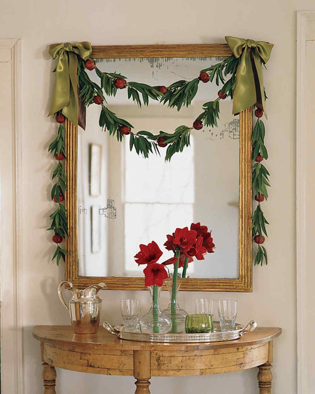 Bay Leaf And Pomegranate Garland Christmas Decor Ideas | Martha Stewart  Living U2014 Drape This Delicate