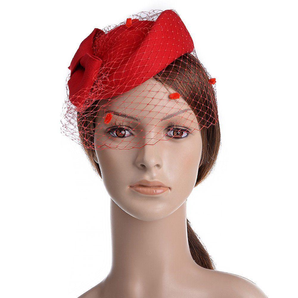 0d1943f829d Vbiger Women s Fascinator Wool Felt Pillbox Hat Cocktail Party Wedding Bow  Veil (Black) at Amazon Women s Clothing store