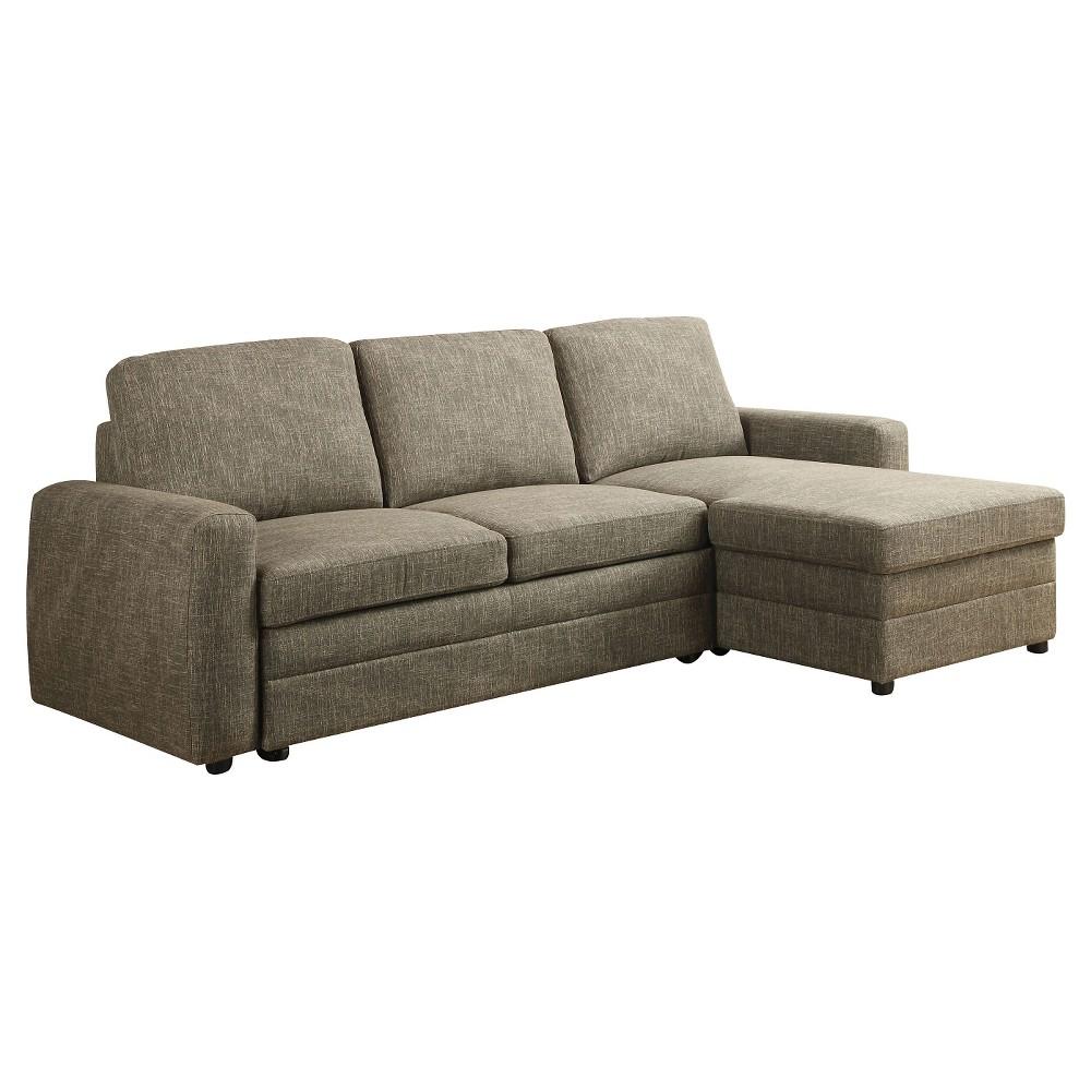 Derwyn sectional sofa light brown linen acme light brown