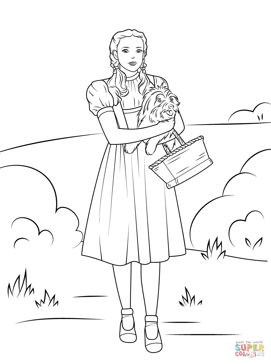 Dorothy Holding Toto Super Coloring Witch Coloring Pages Lion Coloring Pages Wizard Of Oz Color