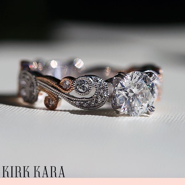 Kirk Kara Engagement Ring From The Angelique Collection Round Detailed