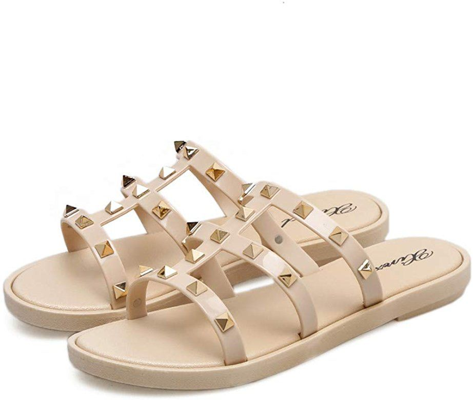 Nude Black Jelly Sandals Bow Peep Toe Flats Beach Slip On Summer Flipflop Summer