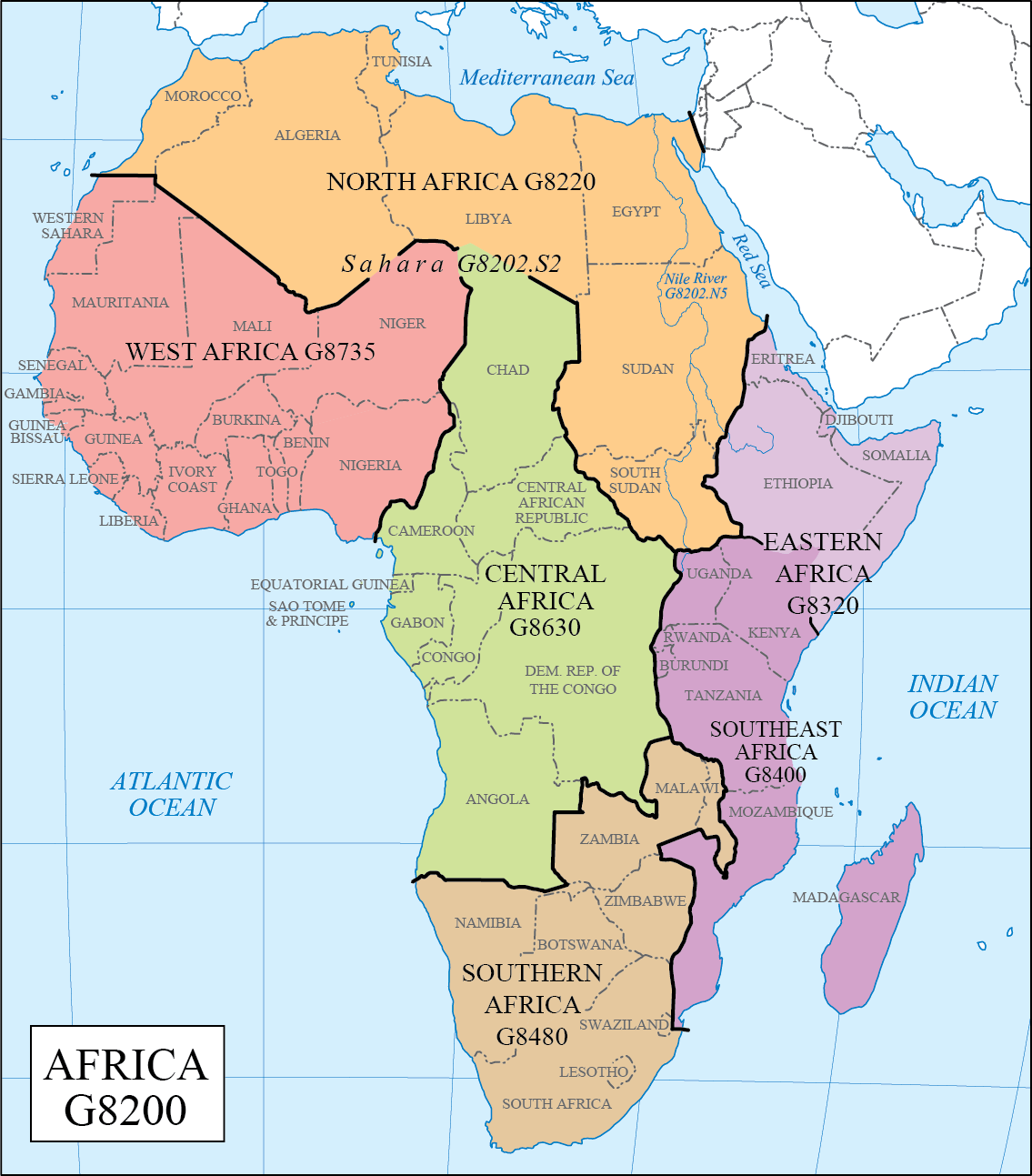 North And South Africa Map Africa regions | Africa map, Africa, African map