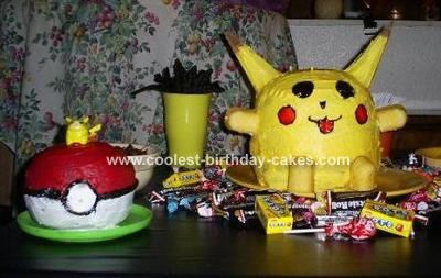 Pikachu Cake: This Pikachu cake was made for my son's 8th birthday. I first baked 2 cakes in bowls for the rounded parts then 4 more flat rounds for the height. The