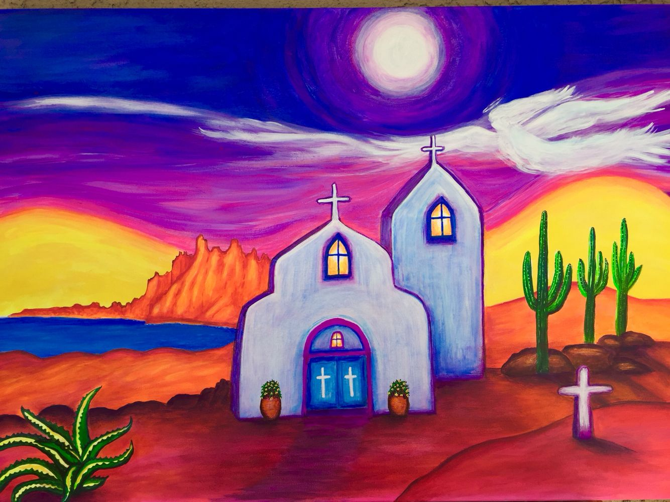 Road To New Mexico By Pamela Price Mexican Art Painting Mexican Folk Art Painting Mexican Paintings
