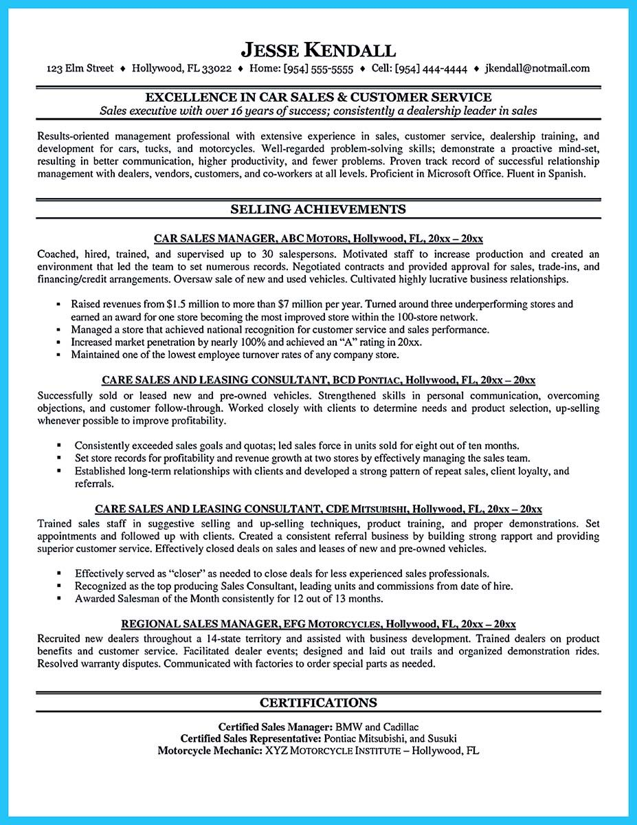cool Captivating Car Salesman Resume Ideas for Flawless Resume ...