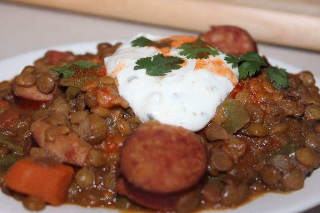 Cajun Lentil and Kielbasa Stew
