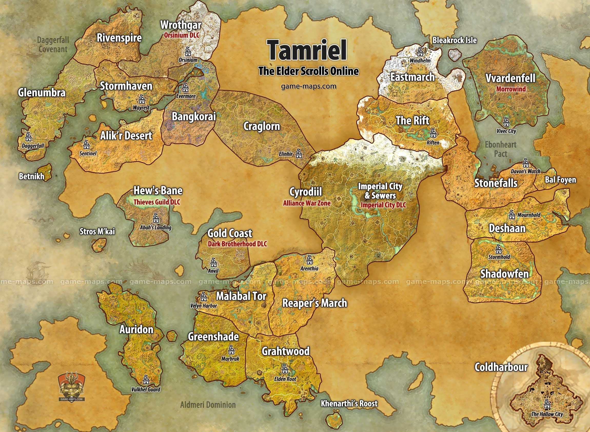 Maps for The Elder Scrolls Online (ESO), Vvardenfell, Morrowind ...