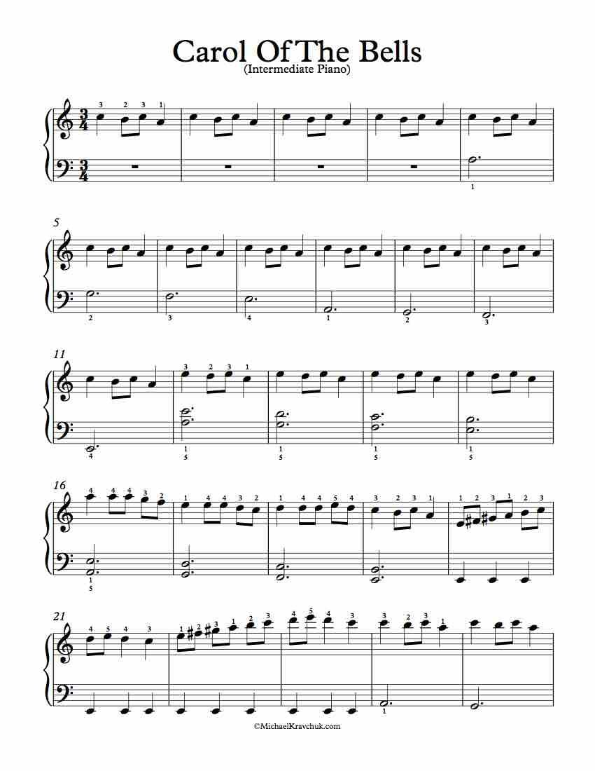 Easy Piano Arrangement For Carol Of The Bells Sheet Music