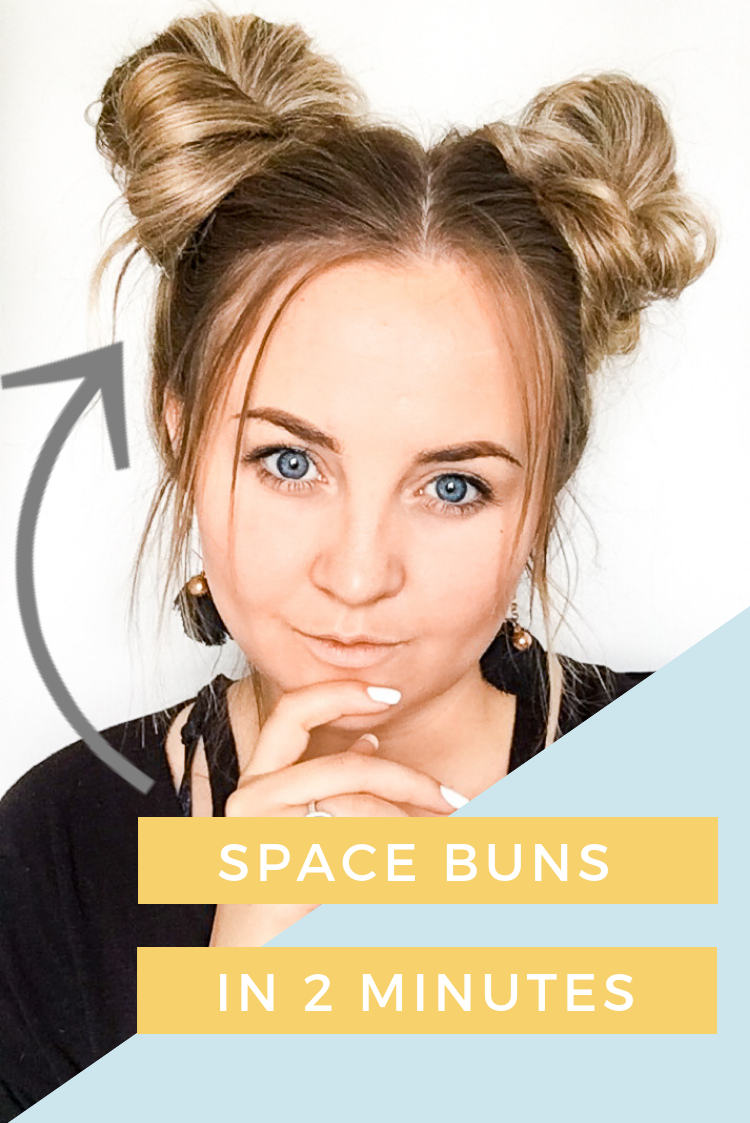 Space Buns Tutorial In Less Than 5 Minutes Hair Bun Tutorial Space Buns Hair Thick Hair Styles