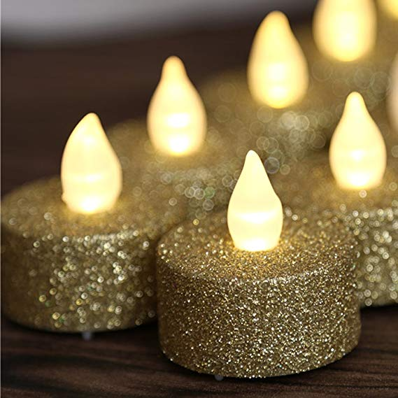 FLAMELESS TEALIGHT CANDLE BATTERY OPERATED SILVER GLITTER BLING SET OF 4