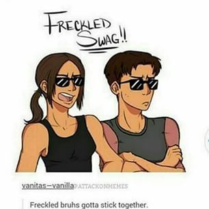 XD I have a head cannon that Ir sees Marco as a little cousin and is willing to back him up if it's nesisary because they both have freckles and swagga. They hang out talking about their baes and Ymir gives Marco relationship advice he'd be to embarrassed to do.