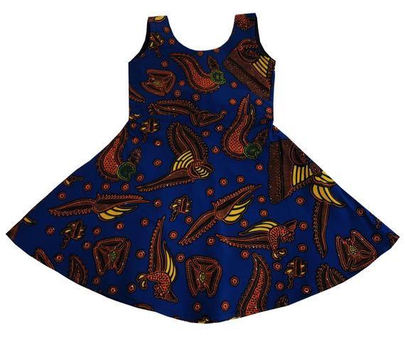 Mamachikita Girl's African Wax Print Sleeveless Dress | Etsy