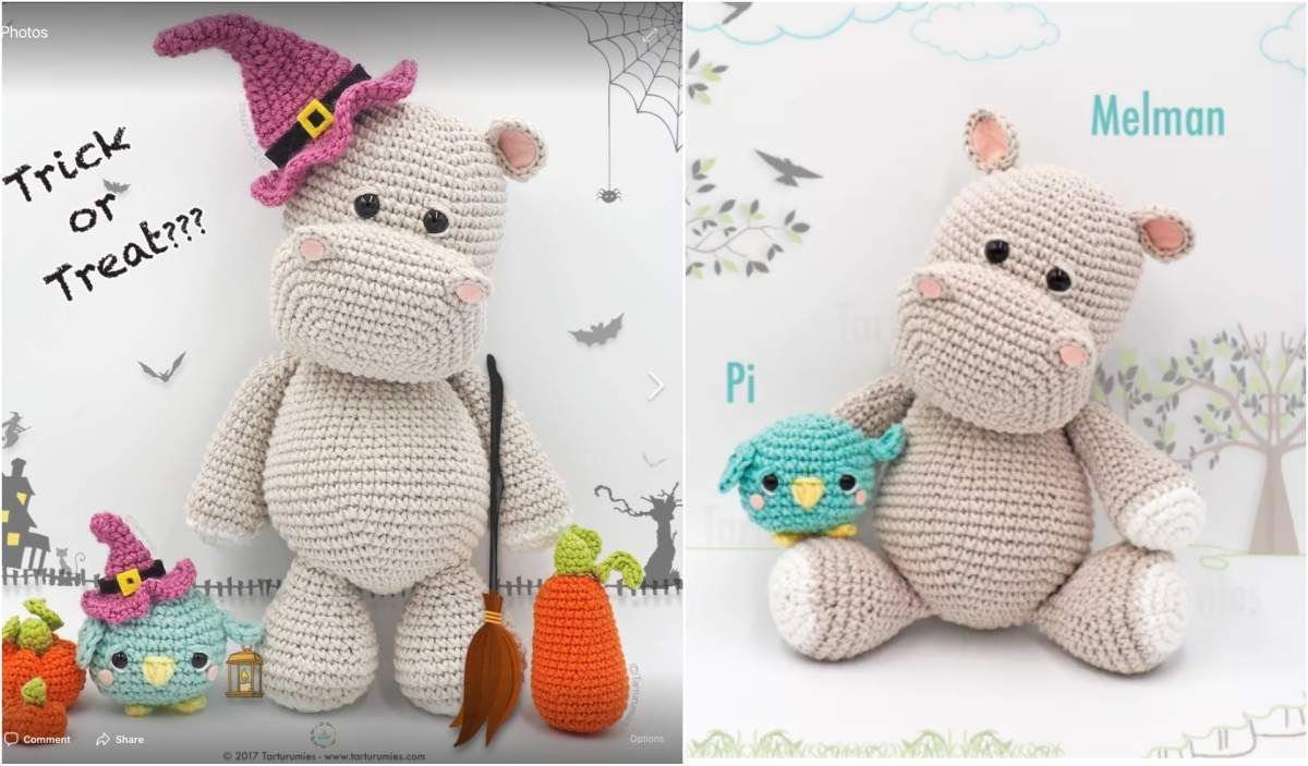 Amigurumi Pattern: The hippopotamus Melman and his friend Pi ... | 703x1200