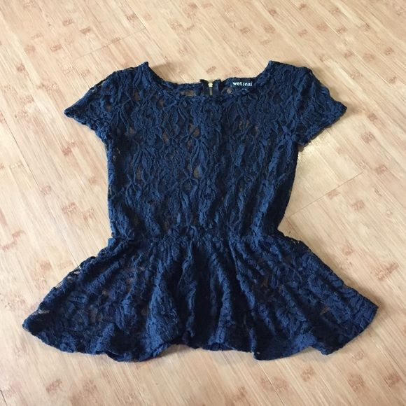 Lace Peplum Top Gold zipper detail on back.  Worn but in good condition. Wet Seal Tops Blouses
