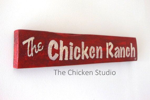 The Chicken Ranch Red Chicken Coop Sign by TheChickenStudio