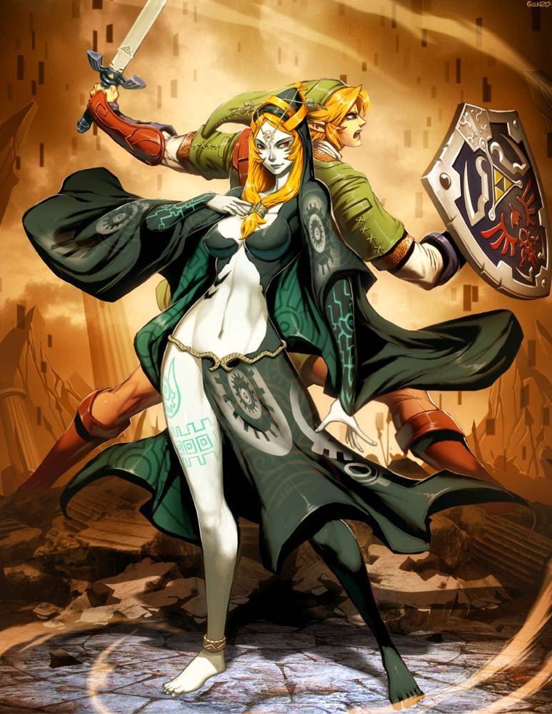 Zelda Twilight Princess fanart - Midna & Link