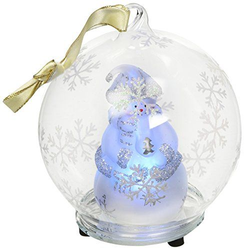 StealStreet SSUGHD0372 Christmas Light Up Glass Ornament Ball White