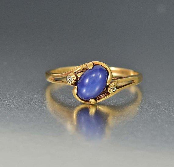 Vintage Diamond Star Sapphire Ring 10k Gold Blue Sapphire Star Ring Lindy Star Ring September Bir Star Sapphire Ring Silver Diamonds Sapphire