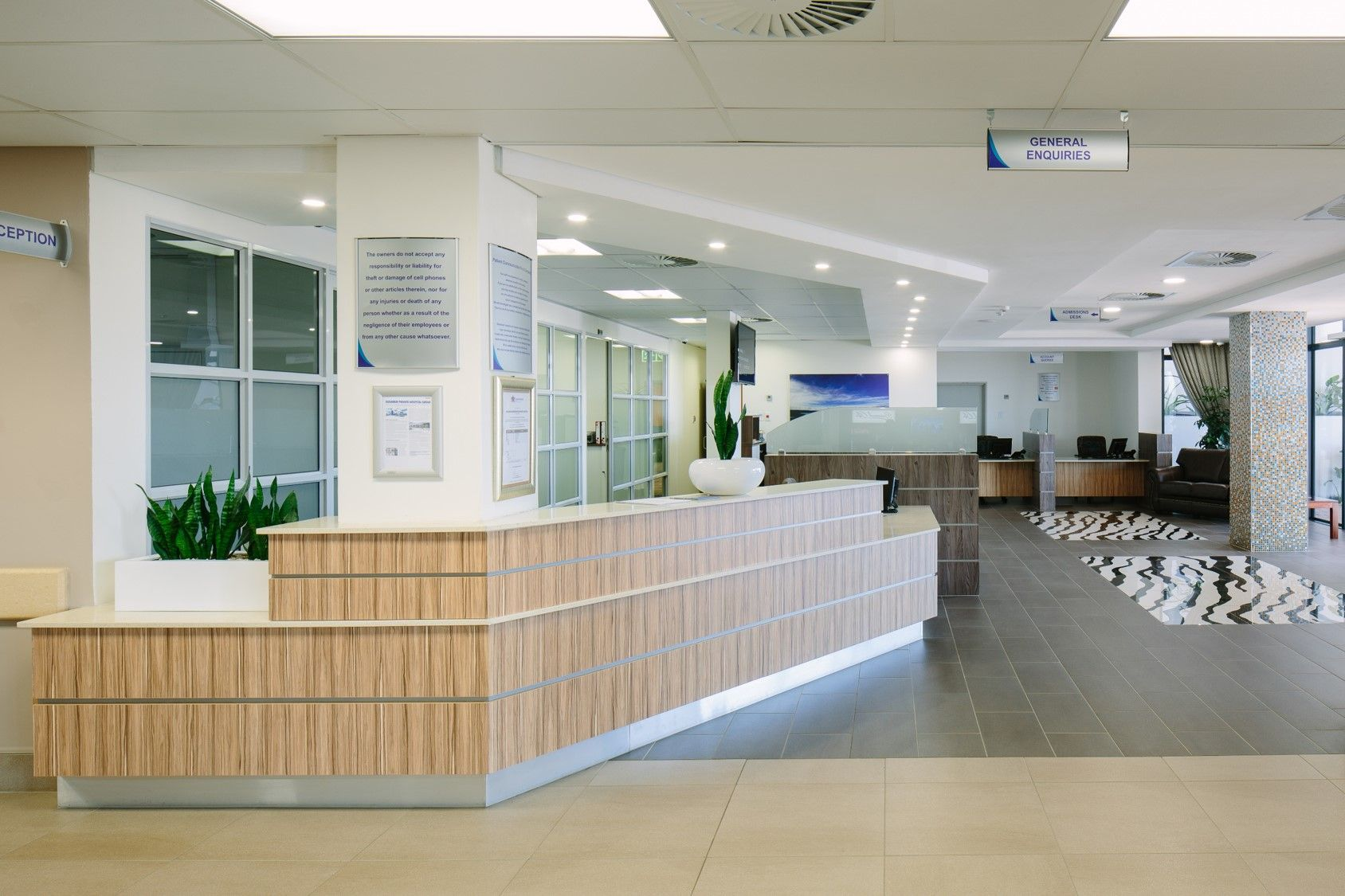Busamed Modderfontein Private Hospital South Africa Reception Area Hospital Architecture Hospital Design Private Hospitals