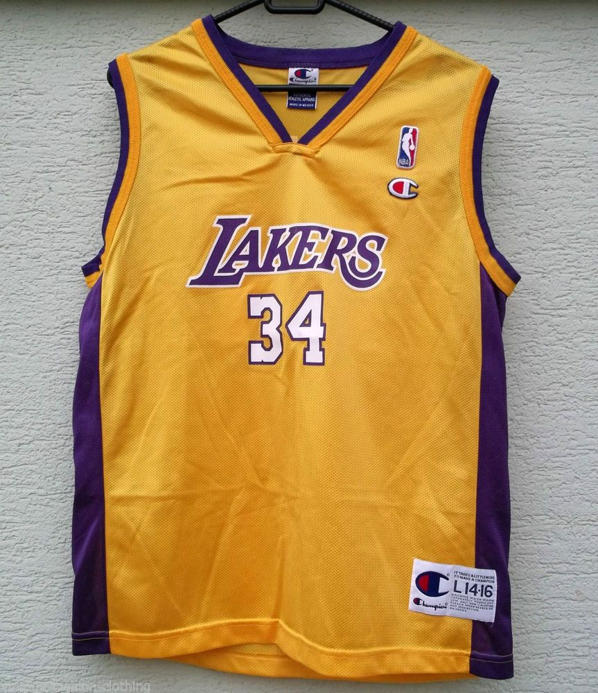 bb2d1505f NBA Los Angeles LAKERS Jersey Champion Shaquille O Neal 34 LA age 14 - 16  Youth