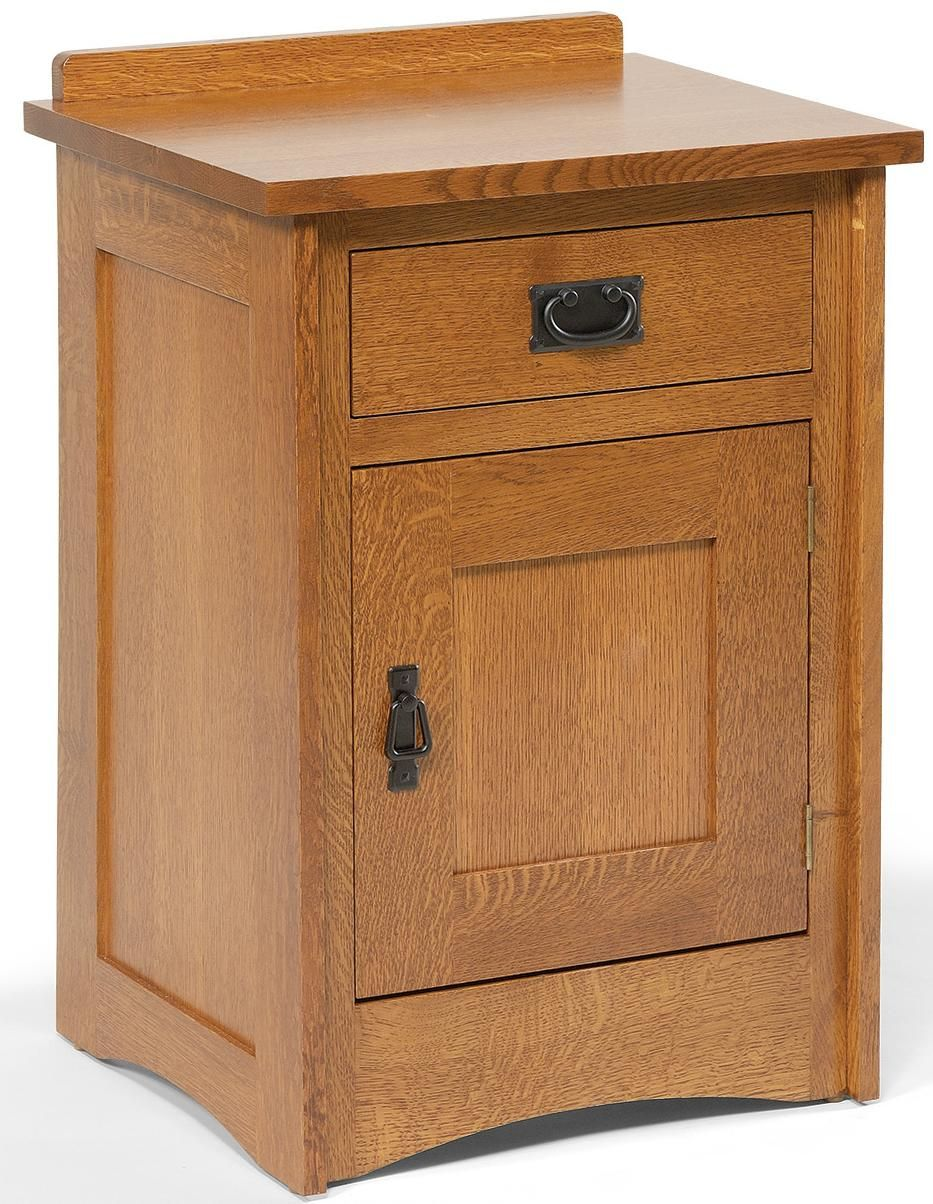 Mission-Style Solid Wood Nightstand with 1 Drawer & 1 Door