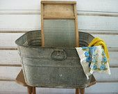 Glass washboard in galvanized tub....and that will be on my porch!!