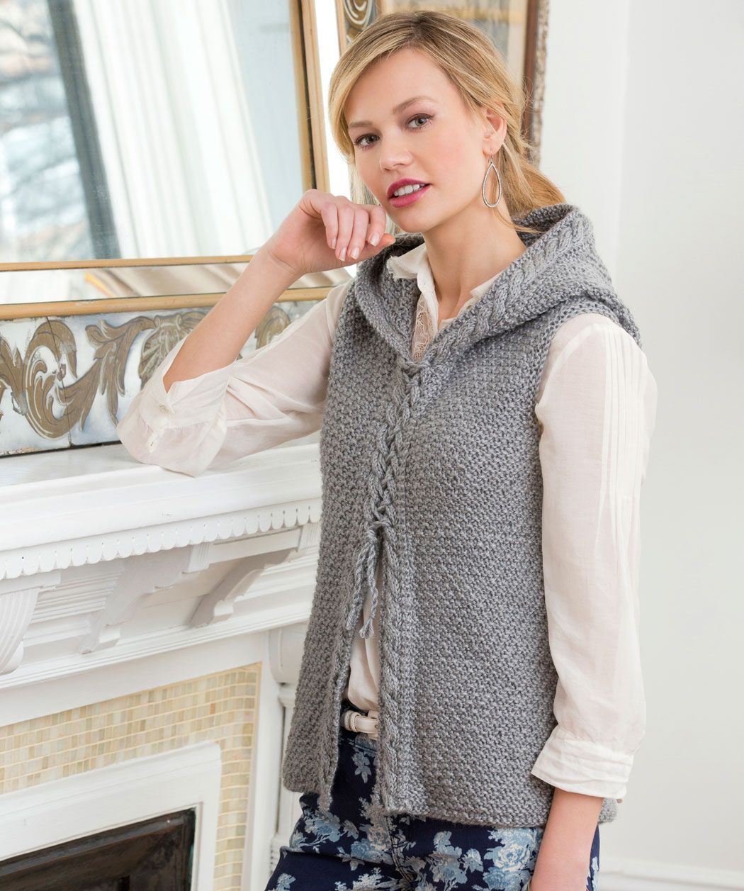 Hooded Cable Vest Knitting Pattern | Red Heart free pattern ...