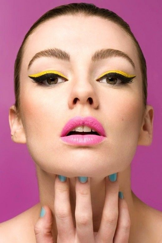Cat Eye And Bright Eye Shadow And Pink Lips For 70 S Makeup
