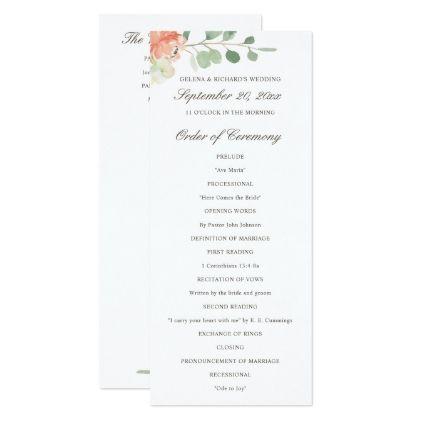 Spring blush and peach watercolor floral program pinterest spring blush and peach watercolor floral program wedding invitations diy cyo special idea personalize card stopboris Gallery