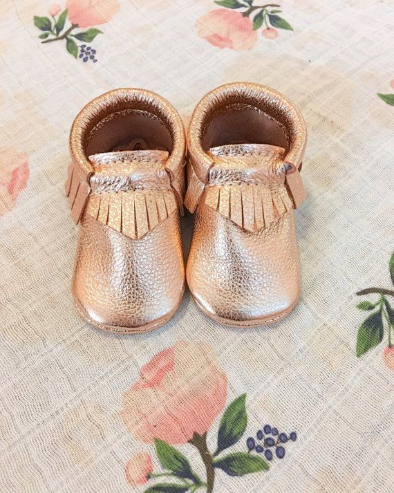 f61ea231cd93 Rose Gold Baby Moccasins, Toddler Moccasins - Rose Gold Leather Kids Shoes,  Crib Shoes, Infant Shoes