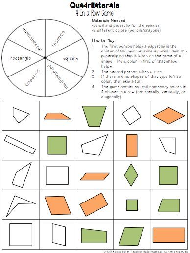 Quadrilateral Games Centers Properties Of Quadrilaterals Activities Quadrilaterals Quadrilateral Games Math Geometry Quadrilaterals 3rd grade worksheets