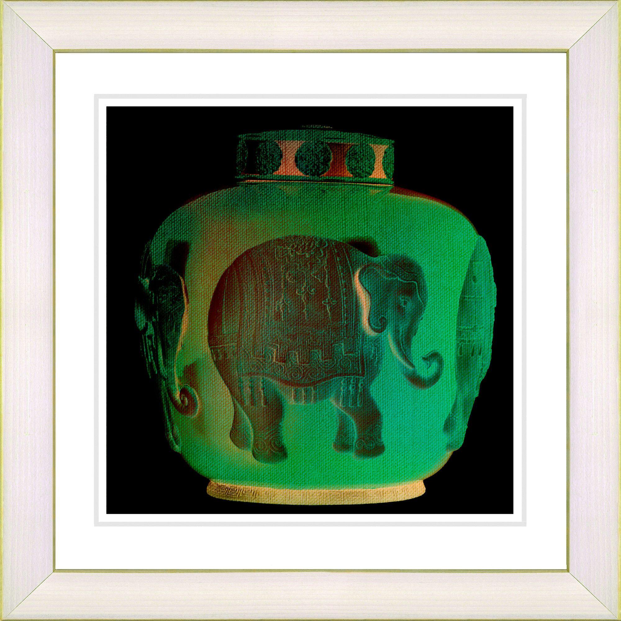 Elephant Urn - Jade Green by Zhee Singer Framed Graphic Art in Green