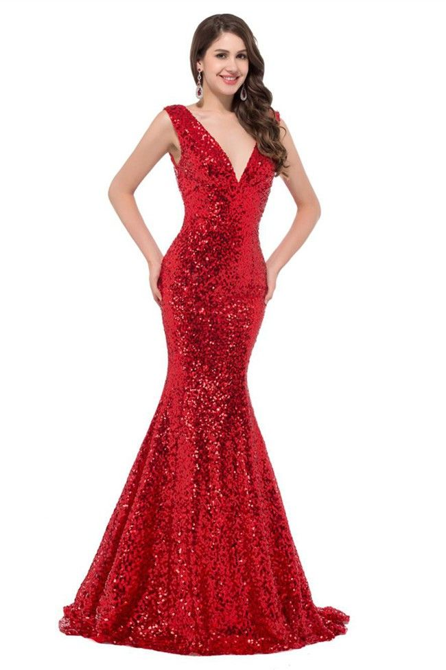 Glitter Mermaid V Neck Sleeveless Red Sequin Prom Dress Corset Back ... 03839fc3a6d7
