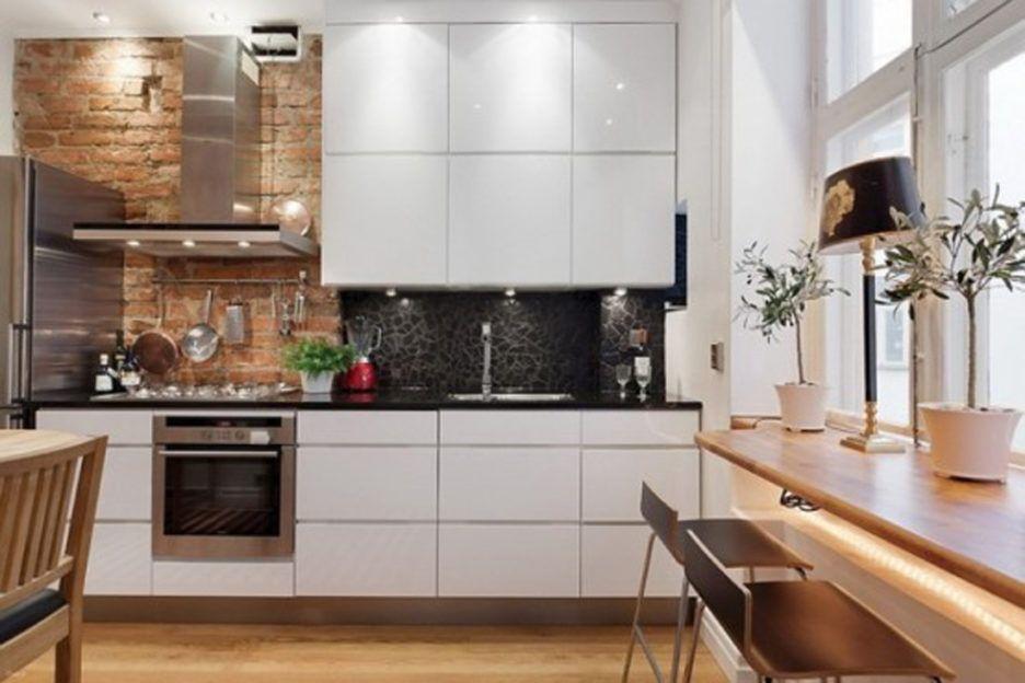 White Kitchen Exposed Brick white laminated wooden top cabinet white laminated wooden kitchen