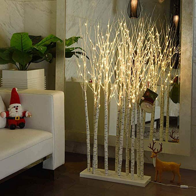 LED Lighted Birch Tree Indoor 5ft, 11 Trees, 160 LED