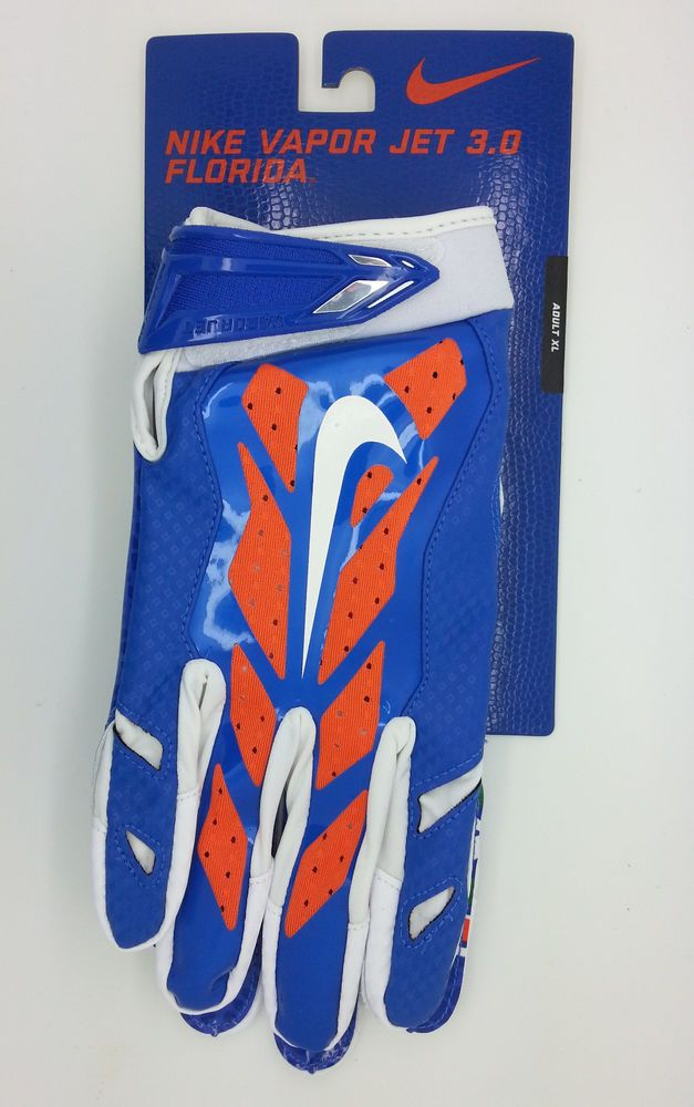 c1c3b782701 FLORIDA GATORS NIKE VAPOR JET 3.0 LOCK UP LOGO GLOVES PAIR (ADULT XL) --  NEW  Nike